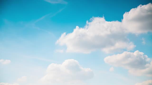 Time Lapse Cumulus Clouds on Blue Sky