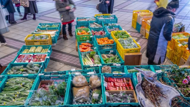4k time lapse - customer shopping vegetable and fruit beside the street - tokyo japan - grocer stock videos & royalty-free footage