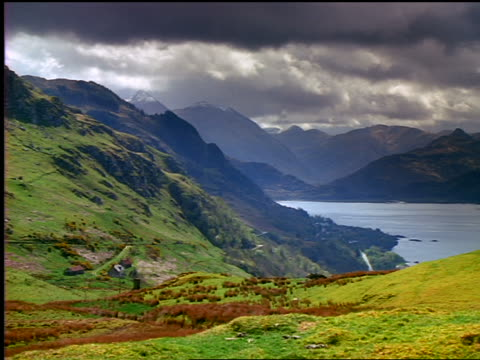 time lapse dark clouds passing over grassy mountains + lake /  loch duich / highlands, scotland - loch duich stock videos & royalty-free footage