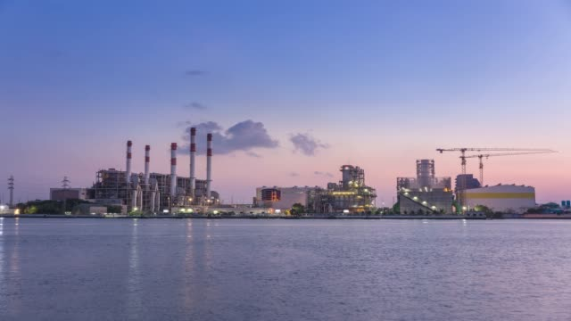 4K Time lapse Dawn to day : Power plant or Power house for electric energy to the city.