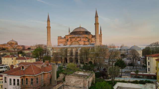 time lapse day to night at hagia sophia, istanbul - hagia sophia istanbul stock videos & royalty-free footage