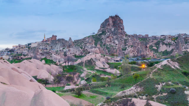 time lapse day to night at uchisar, cappadocia - byzantine stock videos & royalty-free footage