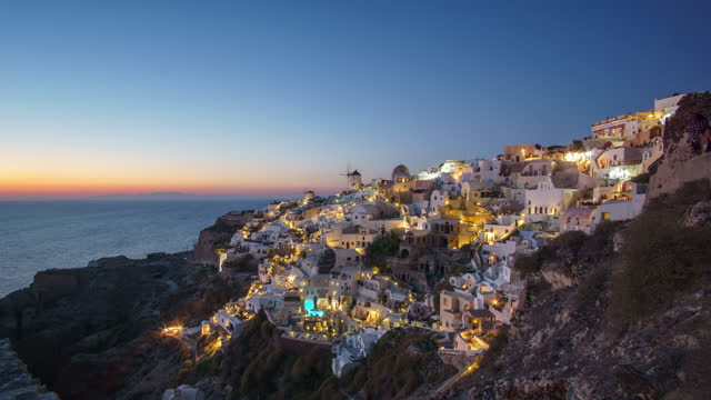 time lapse day to night santorini the world famous place in the world - oia santorini stock videos & royalty-free footage