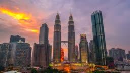 4K Time lapse Day To Night, Sunset Scene of Kuala Lumpur Skyline with Petronas Twin Tower, Malaysia