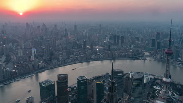 time lapse downtown shanghai day to night transition - pearl stock videos and b-roll footage