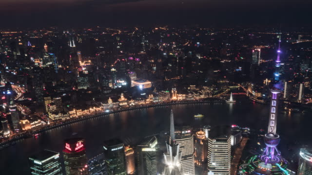 time lapse downtown shanghai day to night transition - jin mao tower stock videos & royalty-free footage