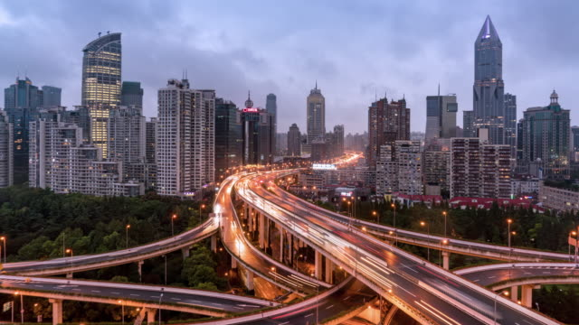 Time Lapse Downtown Traffic/Shanghai, China