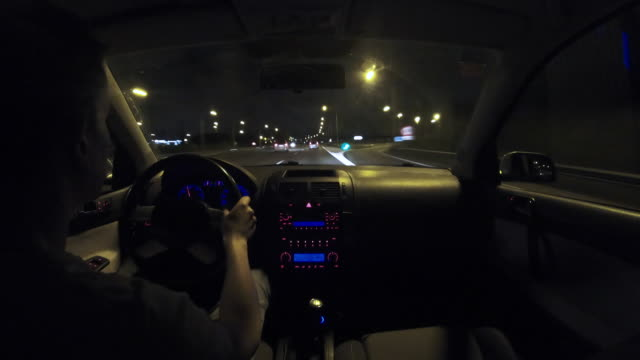 time lapse driving at night from inside car. - digital camcorder stock videos & royalty-free footage