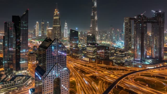 time lapse dubai skyline at sunset / dubai, uae - elevated road stock videos & royalty-free footage