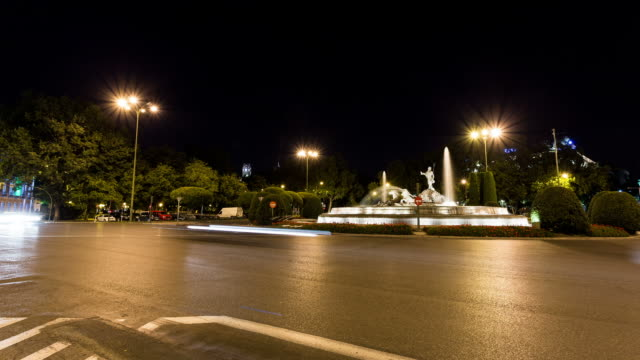 madrid - circa 2013: time lapse during the night at neptun fountain  - 2013 stock videos & royalty-free footage