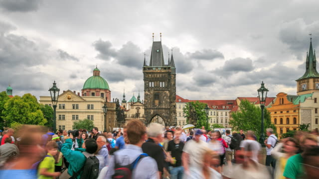 4k time lapse :dusk on charles bridge - charles bridge stock videos and b-roll footage