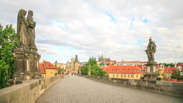 4k time lapse : dusk on charles bridge - mala strana stock videos and b-roll footage