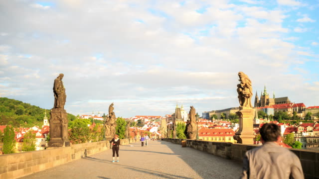 4k time lapse :dusk on charles bridge - hradcany castle stock videos and b-roll footage
