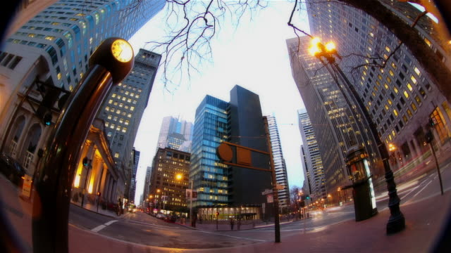 time lapse dusk to night fish eye view pedestrians and traffic on financial district street at night / san francisco, california - wide angle stock videos & royalty-free footage