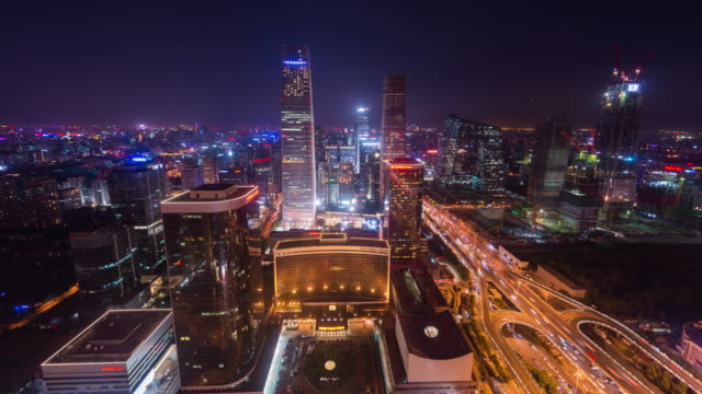 Time Lapse- Elevated View of Beijing Cityscape at Night (WS HA)