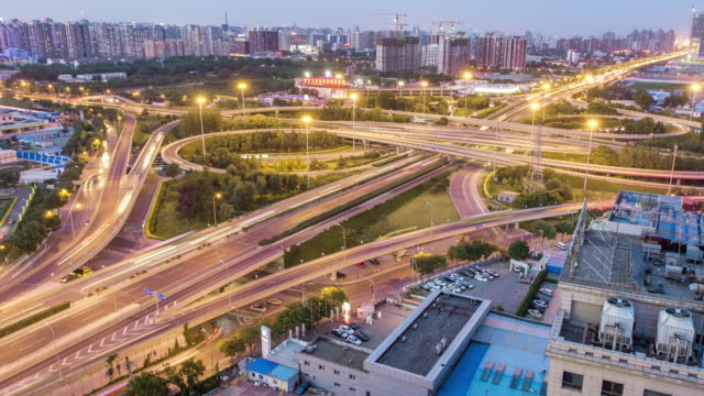 Time Lapse- Elevated View of Beijing Highway, from Day to Night (WS HA Panning)