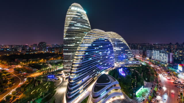 Time Lapse- Elevated View of Beijing Wangjing SOHO at Night (WS HA Panning)
