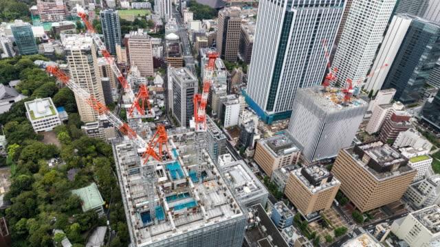 タイムラプス - 東京の建設の高い眺め - クレーン点の映像素材/bロール