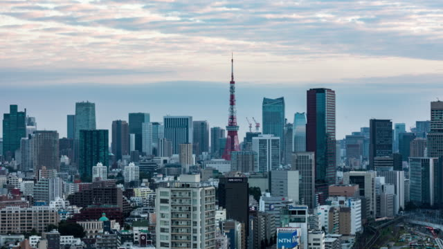 time lapse - elevated view of tokyo skyline - time of day stock videos & royalty-free footage