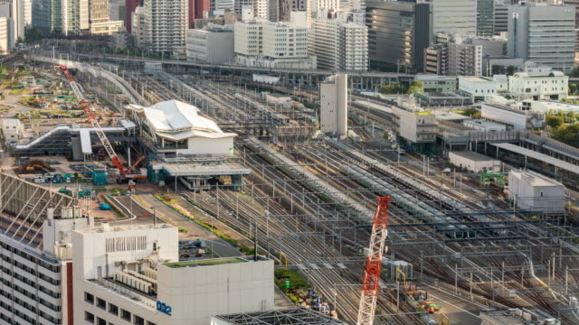 time lapse - elevated view of tokyo skyline - high speed train stock videos & royalty-free footage