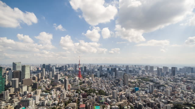 time lapse - elevated view of tokyo skyline - day stock videos & royalty-free footage