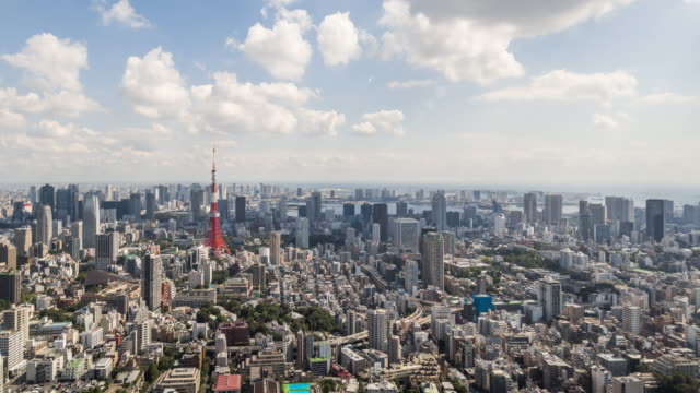 time lapse - elevated view of tokyo skyline (panning) - tokyo japan stock videos & royalty-free footage