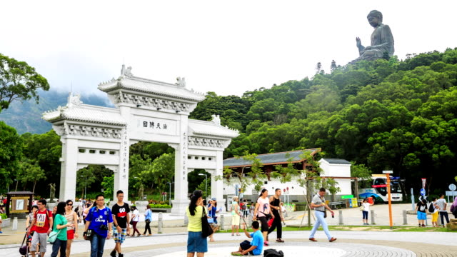 HD Time lapse : Entrance of the Tian Tan Buddha
