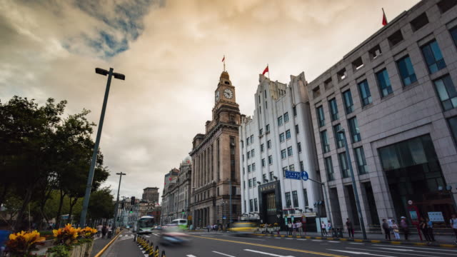 Time Lapse -Exotic building clusters in the Bund of Shanghai, China