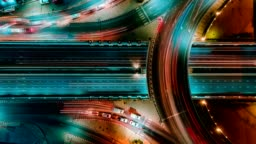 Time lapse expressway top view, Circl Road traffic an important infrastructure in Bangkok Thailand