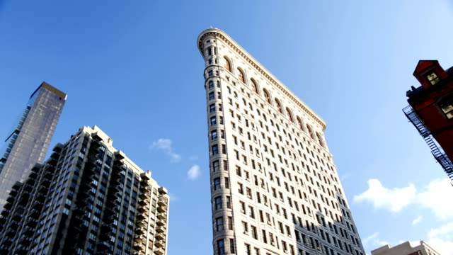 time lapse - flatiron building in new york - flatiron building manhattan stock videos and b-roll footage