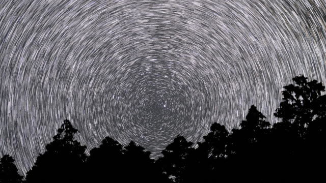 time lapse footage of the night sky sky full of stars growing and circling around the north star - 北極星点の映像素材/bロール