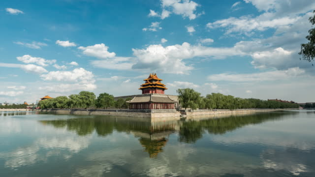 time lapse- forbidden city, beijing (panning) - verbotene stadt stock-videos und b-roll-filmmaterial