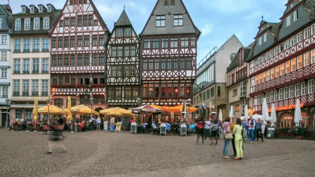 time lapse :frankfurt roemerberg - römerberg stock videos and b-roll footage