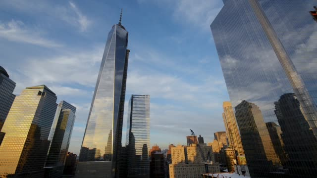 zeitraffer, freedom tower, manhattan, new york, usa - one world trade center stock-videos und b-roll-filmmaterial