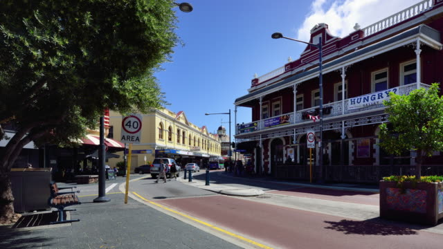 4k time lapse(zoom): freemantle's streets, perth, western australia - town stock videos & royalty-free footage