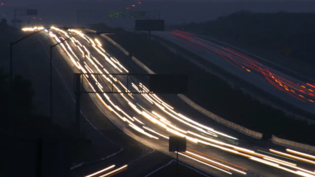 time lapse freeway traffic dark hd sd video - headlight stock videos & royalty-free footage