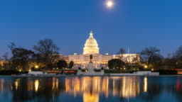 4K Time lapse front of the United States Capitol Building with reflecting pool at twilight time, Capitol Hill, Washington, D.C., USA
