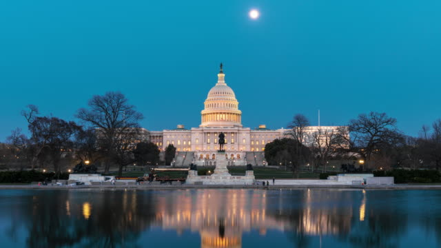 time lapse front of the united states capitol building with reflecting pool at twilight time, washington, d.c., usa - reflecting pool washington dc stock videos & royalty-free footage