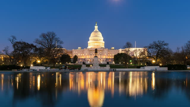 time lapse front of the united states capitol building with reflecting pool at twilight time, washington, d.c., usa - federal building stock videos & royalty-free footage