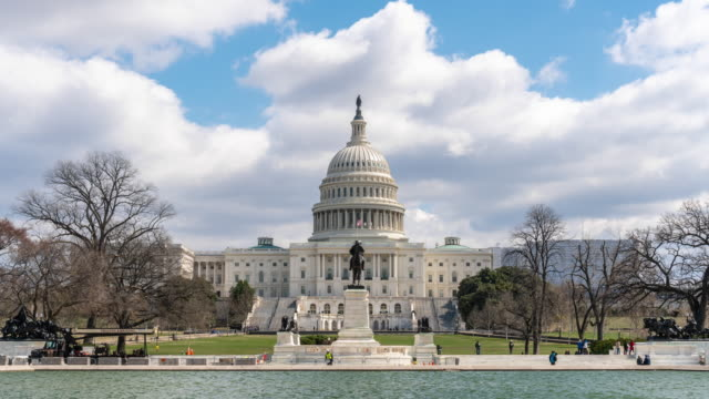 4k time lapse front of the united states capitol building with reflecting pool, capitol hill, washington, d.c., usa, architecture and attraction concept - reflecting pool washington dc stock videos & royalty-free footage