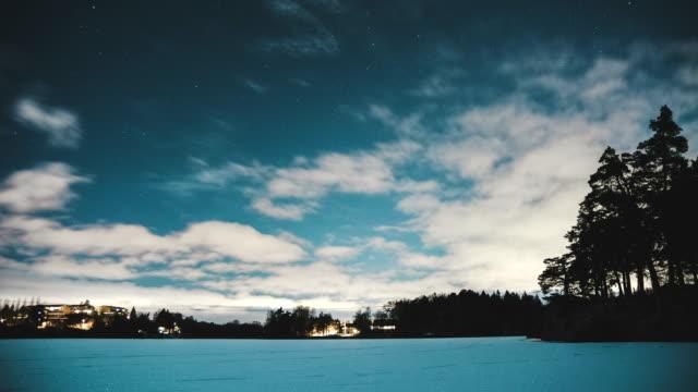 HD Time Lapse: Frozen lake at night