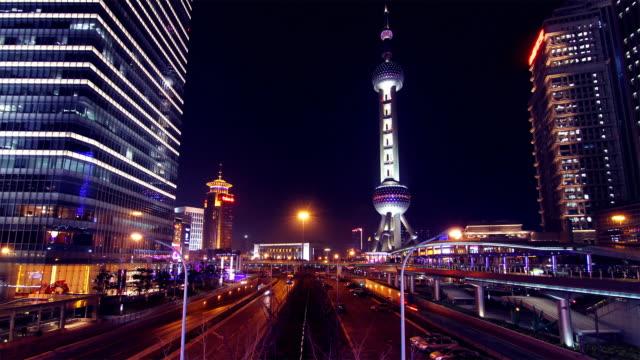 Time Lapse - Futuristic Cityscape of Shanghai at Night