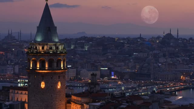 time lapse galata tower in i̇stanbul, turkey - istanbul stock videos & royalty-free footage