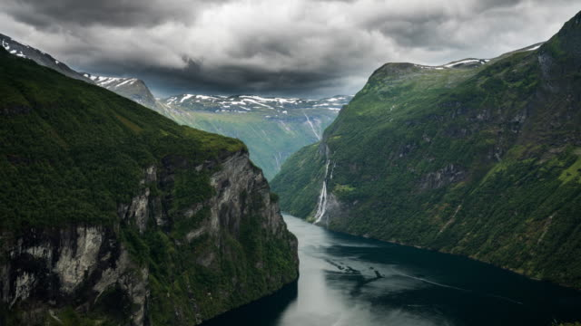 time lapse: geirangerfjord, romsdal county, norway - coastal feature stock videos & royalty-free footage