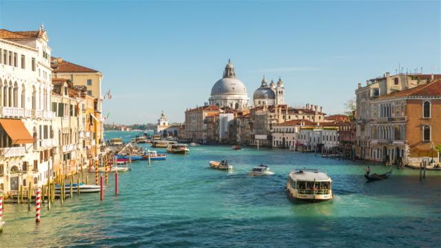 Time Lapse: Grand Canal and Santa Maria della Salute in Venice Italy.
