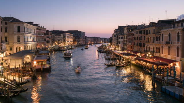 time lapse grand canal in venice at dusk, italy - grand canal venice stock videos & royalty-free footage