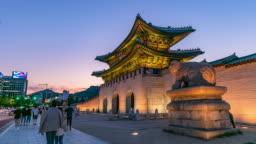 Time Lapse Gyeongbokgung palace in Seoul, South Korea