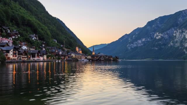 4K Time Lapse : Hallstatt mountain village landscape famous view