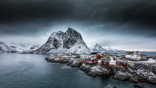 time lapse: hamnoy village, lofoten island, norway - idyllic stock videos & royalty-free footage