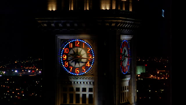 ms time lapse hands moving around clockface of custom house tower at night / boston, ma - custom house tower stock videos & royalty-free footage